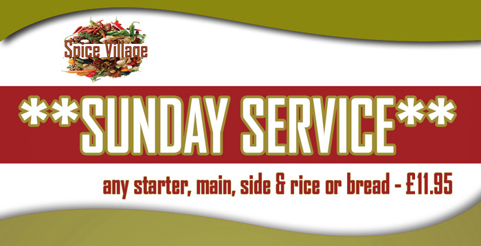 Spice Village Sunday Service banner new price